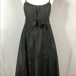 Banana Republic Black Silk Embroidered dress 2